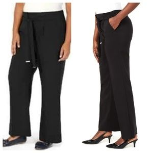 JM Collection Wide Leg Tie Belt Dress Pants